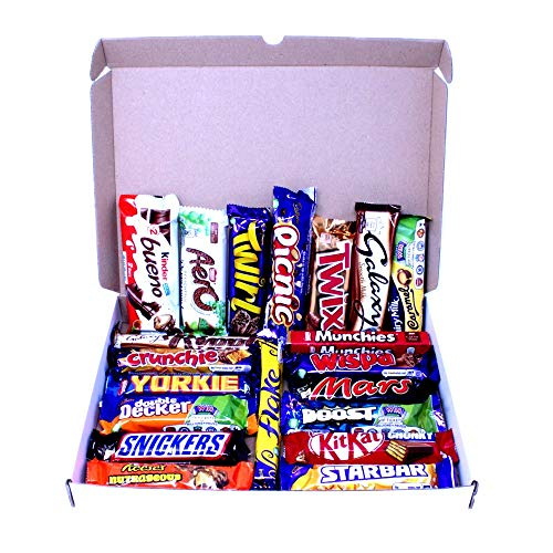 Chocolate hamper gift box filled with a perfect selection of your favorite 20 full sized chocolate bars