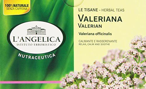 L'Angelica, Tisana Valeriana, Tisana Funzionale a Base di Valeriana, Azione Calmante, Rilassante e Rasserenante, Infuso che Facilita il Sonno, Vegan, Confezione da: 20 Filtri