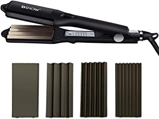 DSHOW 4 in 1 Hair Crimper Hair Waver Hair Straightener Curling iron with 4 Interchangeable Ceramic Flat Crimping Iron Plate, Black