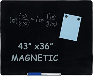 Erommy Magnetic Glass Whiteboard,44×36 inches Dry Erase Board,Glass Board Frameless,Black Surface,White Board for Wall,Office, Home, School-Black