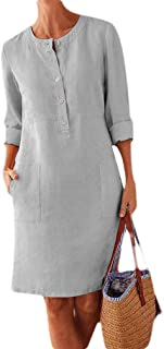 Doufine Women Plus Size Casual Pure Colour Long Sleeve Linen Swing Dress