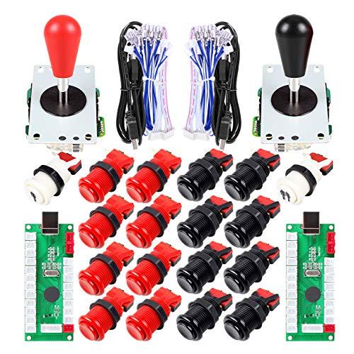 EG STARTS 2 Giocatori Arcade Joystick Parti Fai da Te USB Encoder 2X Ellipse Maniglia Joystick Ovale 18x Pulsanti Stile Americano Arcade per PC, MAME, Raspberry Pi, Sistema Windows (Rosso & Nero)