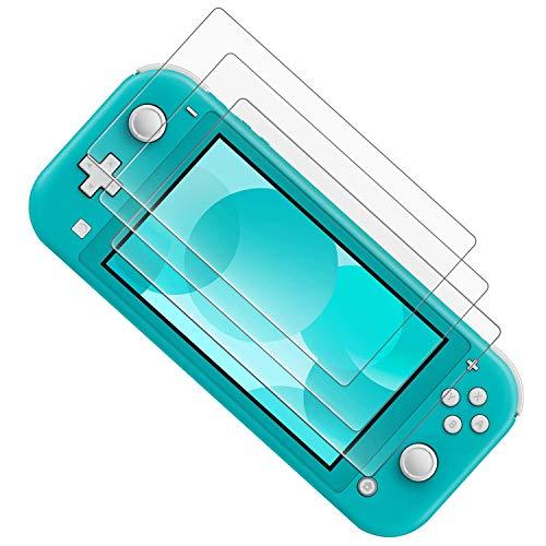 3枚入り Nintendo Switch Lite用 ガラスフィルム 強化ガラス 保護フィルム 【ブルーライトカット】 日本「旭硝子」素材製 指紋防止・目の疲れ軽減・最强硬度9H・耐スクラッチ・飛散防止・高透過率・気泡ゼロ・貼り付け簡単