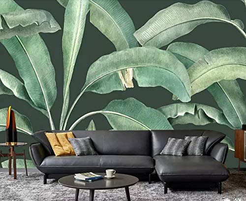 Papel Pintado Pared 3D Fotomurales Selva Tropical Planta Hoja Vintage Murales 3D Papel Tapiz Decorativos Moderno Wallpaper,350CmX256Cm