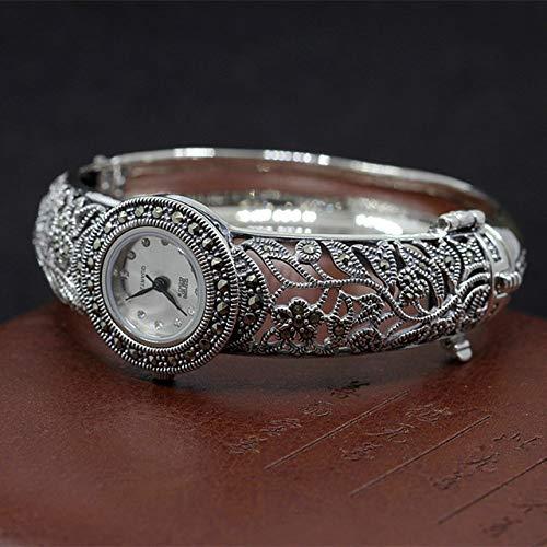 GGPUS 925 sterling zilveren sieraden, edele dames emaille zilveren horloge, elegant en prachtig, set met marcsay stenen, reisherinnering, armbanden, armband