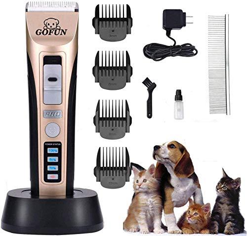 Tierhaarschneider, Geräuscharmer Wiederaufladbare Haustier Haarschneider Elektrische Hundeschermaschine Drahtlose Tierhaartrimmer Tierschermaschine (Gold22)