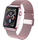 Mairix Compatible with Apple Watch Band 44mm 42mm, Adjustable Breathable Stainless Steel Mesh Loop Magnet Wristband Strap Replacement for iWatch Series 5 4 3 2 1 All Models, Rose Gold