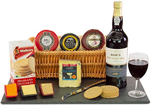 Dow's Tawny Port and Stilton Wedge Galore Hamper comes presented in a Full Buffed 15Inch Willow Tray wrapped in cellophane with Name-a-Rose Gift