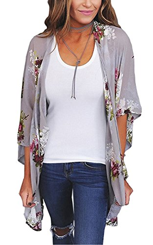 ECOWISH Womens Kimono Cardigan Floral Print Sheer Capes Loose Cardigans Cover Up Blouse Tops D2003 Gray X-Large