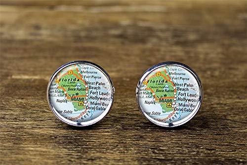 Small Elf Miami Florida map Cufflinks, Miami Cufflinks, Miami map Jewelry Dome Glass Ornaments, Personalized Cuff Links