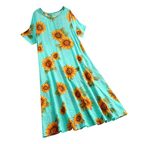 Review Hstore Women Printing Long Dress Cotton and Linen Loose O-Neck Short Sleeve Swing Dress Maxi ...