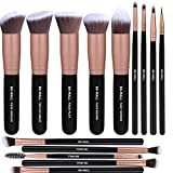 14PCS Makeup Brushes Set Synthetic Kabuki Makeup Brush Cosmetics Foundation Blending Blush Eyeliner Face Powder Brush Makeup Brush Kit(Black&Gold)