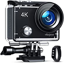 okejeye OK600 4K Action Camera Touch Screen 131ft Waterproof Camera Underwater Webcam WiFi Sports Camera with Remote Control Ultra HD Video 24MP Photos