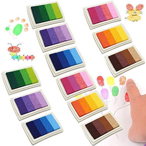 12 Piezas Rainbow Craft Almohadillas de Tinta Lavable Huella Dactilar Sello para Manualidades Sellos de Cauchotarjetas, 24 Colores