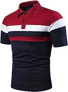SANFASHION Men Polo Shirts Summer Short Sleeve T Shirt Patchwork Slim Fit Casual Lightweight Breathable Comfy Soft Fashion...