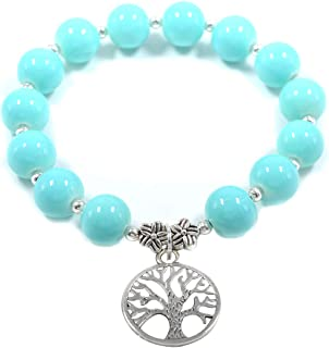 Aashya Mayro Handmade Adjustable Ocean Sky Blue Glass Stones Beads with Tree and Leaf Silver Charms Bracelet For Women and...
