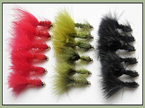 Woolly Bugger Forellenfliegen, 18 Stück, rot, schwarz und oliv, gemischte Größe 8/10, Angeln