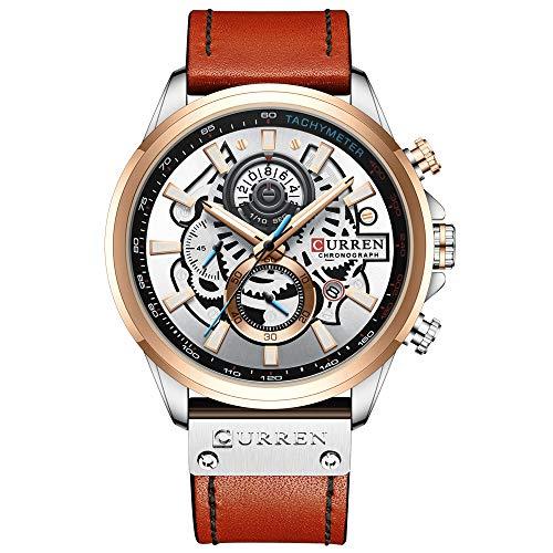 Flytise Reloj de Hombre Movimiento de Cuarzo Correa de Cuero Pantalla de Tiempo y Calendario Función de cronómetro 3ATM Pulsera de Moda Masculina Impermeable para Negocios y v Cotidiana