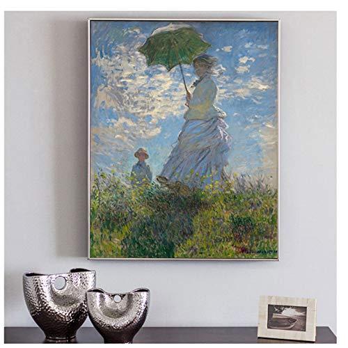 nr Klassische Plakate und Drucke Wandkunst Leinwand Malerei Frau mit Sonnenschirm von Monet Bild für Wohnzimmer nach Hause 50x70cm Rahmenlos