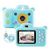 Qoosea Kinder Kamera mit 2,4' IPS Bildschirm, Wiederaufladbare Selfie Spielzeug Fotoapparat, Kinder Digital-Camcorder mit 32GB SD Karte, Stoßfeste DigitalKamera mit Silikonhülle (Blau)