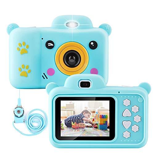 Qoosea Fotocamera Bambini, Digitale Selfie Macchina Fotografica, Portatile Mini Ricaricabile Digitale per Bambini Videocamera Regali per Ragazze Ragazzi 3-8 Anni, LCD da 2.4  HD con Scheda 32 GB-Bl