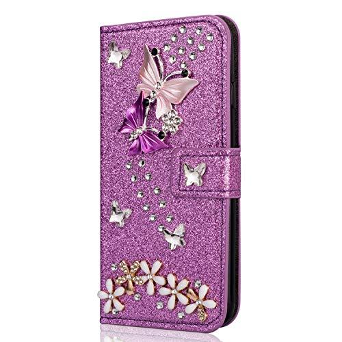 YKTO Coque Compatible avec Samsung Galaxy A5 2016 A510 Violet Housse en Cuir Flip Case Portefeuille Mode Fait à la Main Étui avec Stand Support et Carte Slot Étui Protection Complète Antichoc
