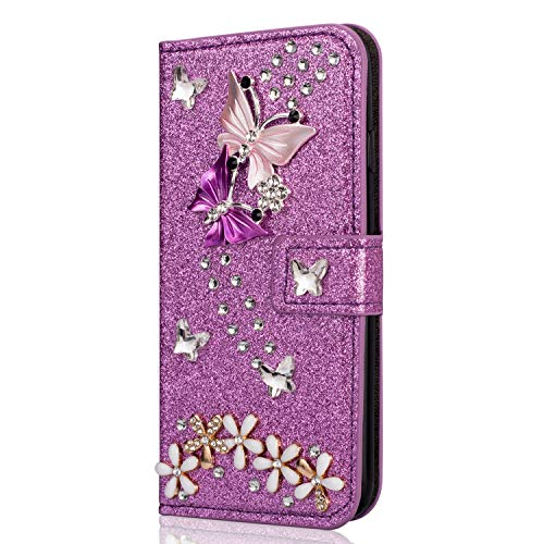 Miagon Hülle Glitzer für Samsung Galaxy S10 Lite,Diamant Strass Schmetterling Blume PU Leder Handyhülle Ständer Funktion Schutzhülle Brieftasche Cover,Lila