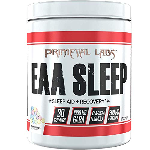Primeval Labs EAA Sleep, Recovery and Sleep Aid, Amino Acid Recovery, Improves Sleep and Rest, Better Muscle Growth, Enhanced Mitochondrial Function, Sour Rounds, 30 Servings