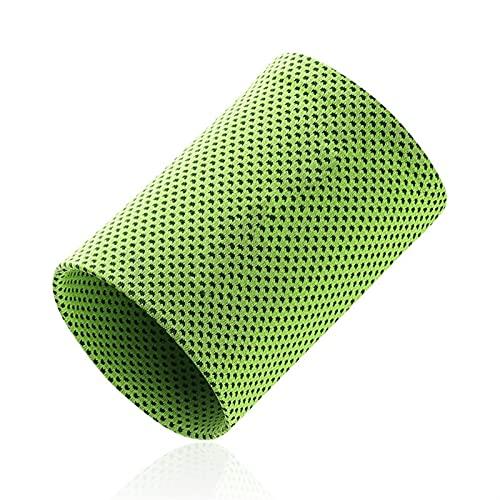 QJGBEIA 1 unids Pulsera de Pulsera Apoyo Transpirable Hielo refrigeración Tenis Pulsera Envoltura Deportes Sweatband para Gimnasio Yoga Voleibol Mano Sudor Banda (Color : Green, Size : S)