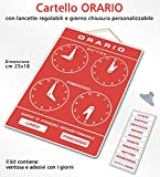 Cartello ORARIO regolabile apertura negozio studio laboratorio bar (Rosso)