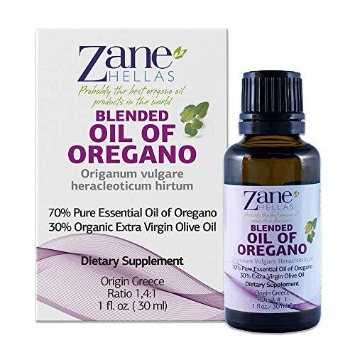 Zane Hellas 70% Oregano Oil. Pure Greek Wild Essential Oil of Oregano .86% Min Carvacrol. 90mg Carvacrol Per Serving. Probably The Best Oregano Oil in The World. 1 fl. oz.- 30ml
