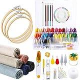 Caydo Kit de bordado 145 piezas, 50 hilos de colores con caja organizadora, 6 piezas de tela de lino, aros de bordado y herramientas de punto de cruz para adultos y niños principiantes