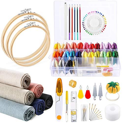 Caydo 145 piezas kit de bordado , 50 hilos de colores con caja organizadora, 6 piezas de tela de lino, aros de bordado y herramientas de punto de cruz para adultos y niños principiantes