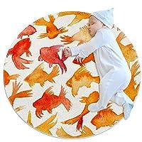 エリアラグ軽量 オレンジレッドゴールドフィッシュ日本人 フロアマットソフトカーペット直径39.4インチホームリビングダイニングルームベッドルーム