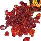 Firebrand Direct Red Fire Glass 1kg (2.2lb) - For Fire Pits, Gas Fires And Ethanol Burners. Sparkling Heat Resistant Glass