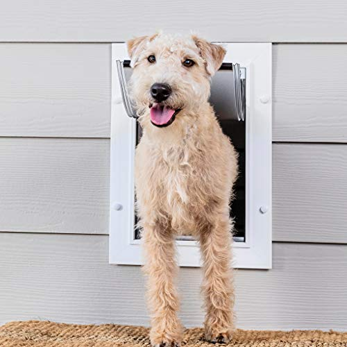 PetSafe Wall Entry Pet Door with Telescoping Tunnel, Medium, for Pets Up to 40 Lb., White, Made in...