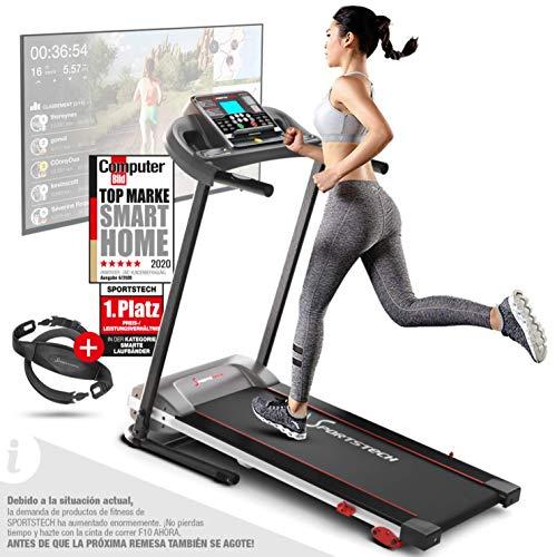 Sportstech F10 Cinta de correr Modelo 2020 - Marca Alemana de Calidad + Video Eventos y App multijugador - NUEVA consola - | 1HP a 10 km/h | cinta de andar con 13 programas, inclinable + plegable (F10)