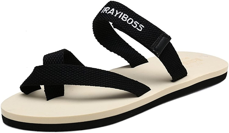 Battle Men Women and Men's Flip-Flop Soft Strap Flat Heel Slipper Casual (color   Black-White, Size   8.5 D(M) US)