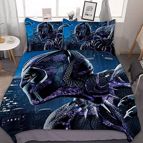 POMJK Black Panther Bed Linen Duvet Cover Set, 1 Duvet Cover & 2 Pillow Cases, Gift for Teenagers and Adults (Black Panther 2, 140 x 210 cm + 50 x 75 cm x 2)
