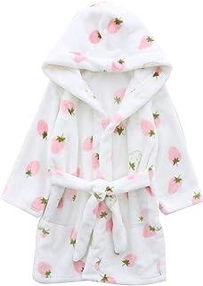 Betusline Girls Soft Fleece Hooded Bathrobe Robe, 12 Months - 18 Years