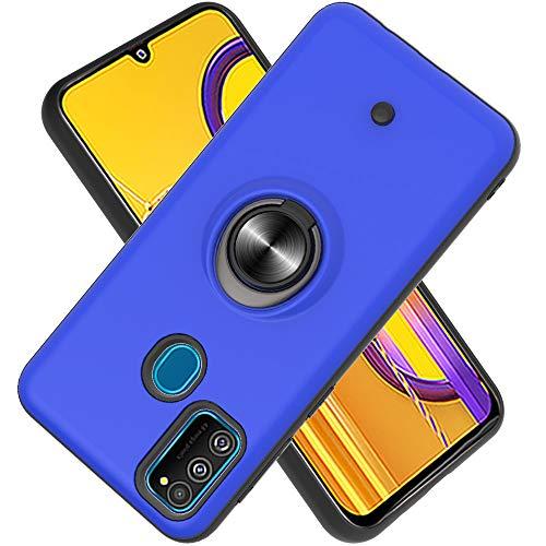 FAWUMAN Hülle für Samsung Galaxy M30S mit Standfunktion, Dekomprimierungsknopf, Rotationsgyroskop, PC + TPU Handyhülle Stossfest Case -Navy blau