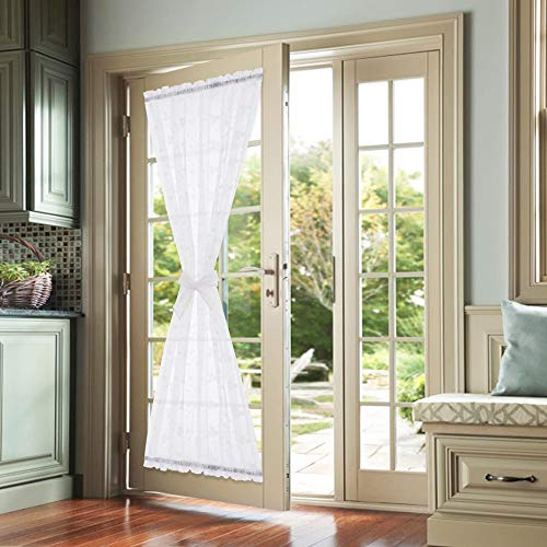 White French Door Curtains Rod Pocket Floral Embroidery Semi Sheer Curtains for Bedroom Living Room 72 inch Length with 1 Piece Bonus Tieback