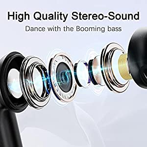 Wireless Earbuds, 5.1 Bluetooth Earbuds in-Ear Stereo Mini Headphone, Bluetooth Headphones with Mic for Clear Calls, 6H Single Play Time, IP7 Waterproof Wireless Earphones with USB-C Charging Case