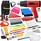 Vinyl Wrap Tool Kit for Car Wrapping & Window Tinting Film Installation, PPF Wrapping Tools Kit Includes 110V Heat Gun, Toolkit Bag, Micro Wrap Squeegee, Magnet Holder, Film Cutter, Plastic Scraper