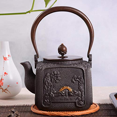 forged iron teapot with stand Teapot kettle sizzling water teapot iron teapot chrome steel kettle workplace present assortment kung fu tea props