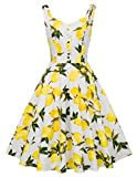 Women Vintage Inspired V Neck A Line Cocktail Dress S BP416-3, Yellow Lemon