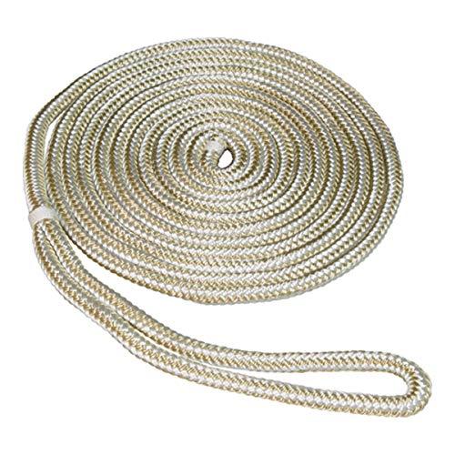 SeaSense 3/8' x 15' Double Braid Nylon Dockline, Gold/White