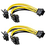 6 Pin to Dual 8 Pin PCIe Adapter Power Cables, 6 Pin to Dual PCIe 8 Pin (6+2) Graphics Card PCI Express Power Adapter GPU VGA Y-Splitter Extension Cords Mining Video Card Converter Cable (2Pack/20cm)