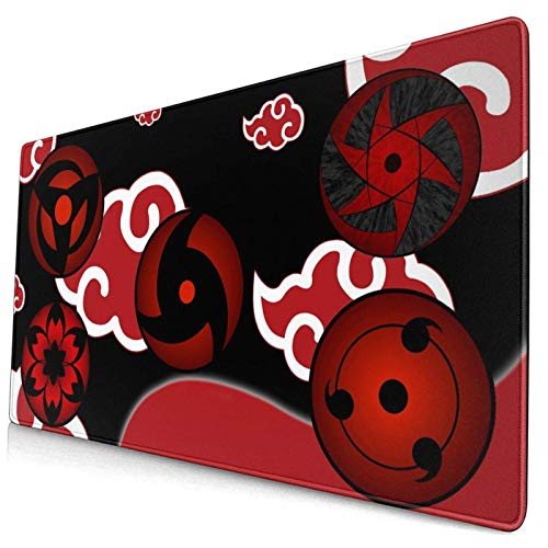 Large Gaming Mouse Pad Hot Anime Akatsuki Naruto Pattern Red Cloud Cool Anti Slip Mouse Mat Stitched Edges Desk Mat Office Desk Pad(29.5'X15.8'X0.12')