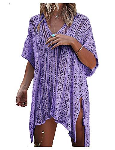 detimi Women's Summer Swimsuit Cover up Bikini Beach Bathing Suit Swimwear Lavender